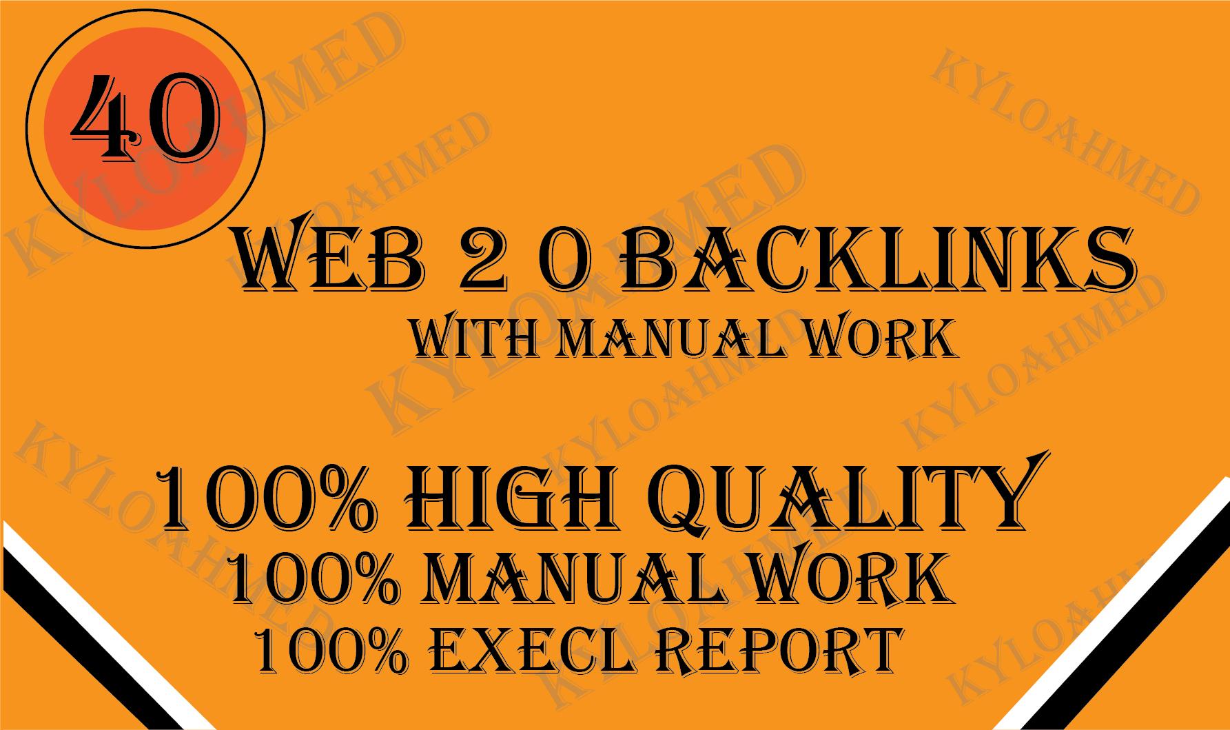 I will build 20 manually web 2.0 backlinks and high quality backlinks