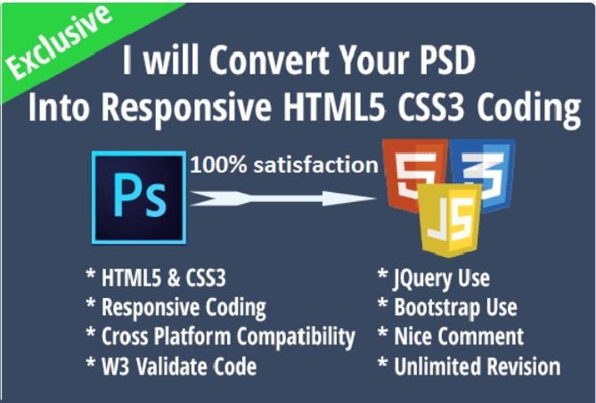 I can convert PSD to HTML responsive layout
