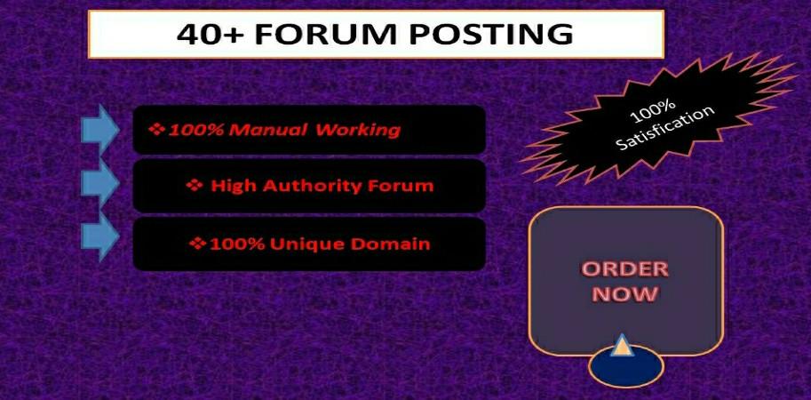 I Will Make High Quality 40+manually High DA/PA forum posting
