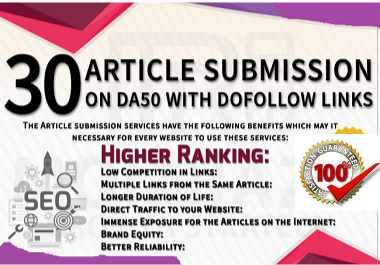 I will Submit Article in 30 in high DA/PA Article Submission Website