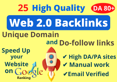 Manually Create 25 High Quality Web 2.0 Backlinks for Off Page SEO
