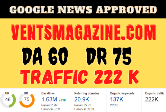 I Will Guest Post On My Da 60 Dr 75 google news approved site.