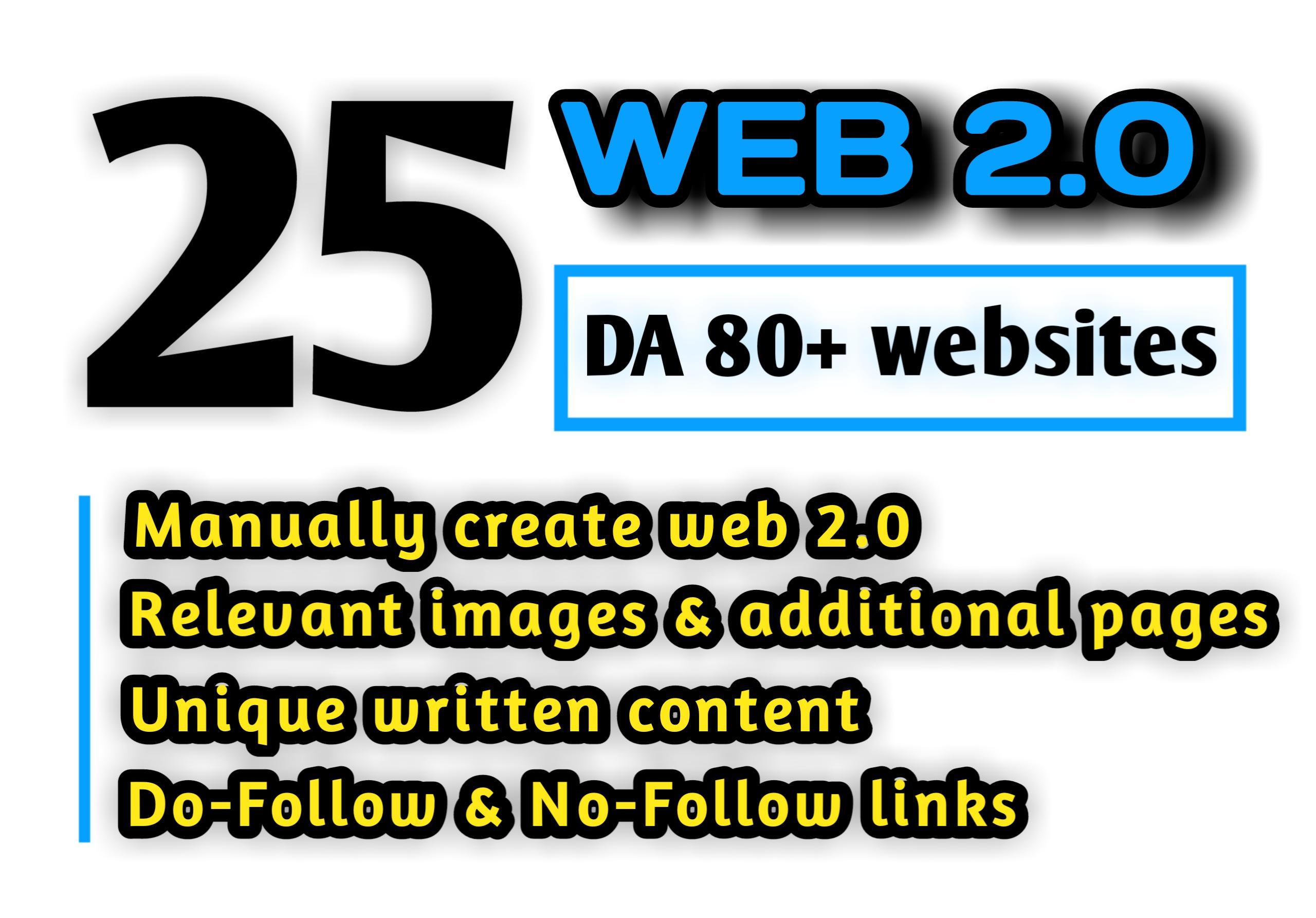 25 HQ DA 80+ WEB 2.0 BACKLINKS