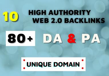 I Will Provide 80+DA Do follow 10 Web 2 0 Backlinks 2021