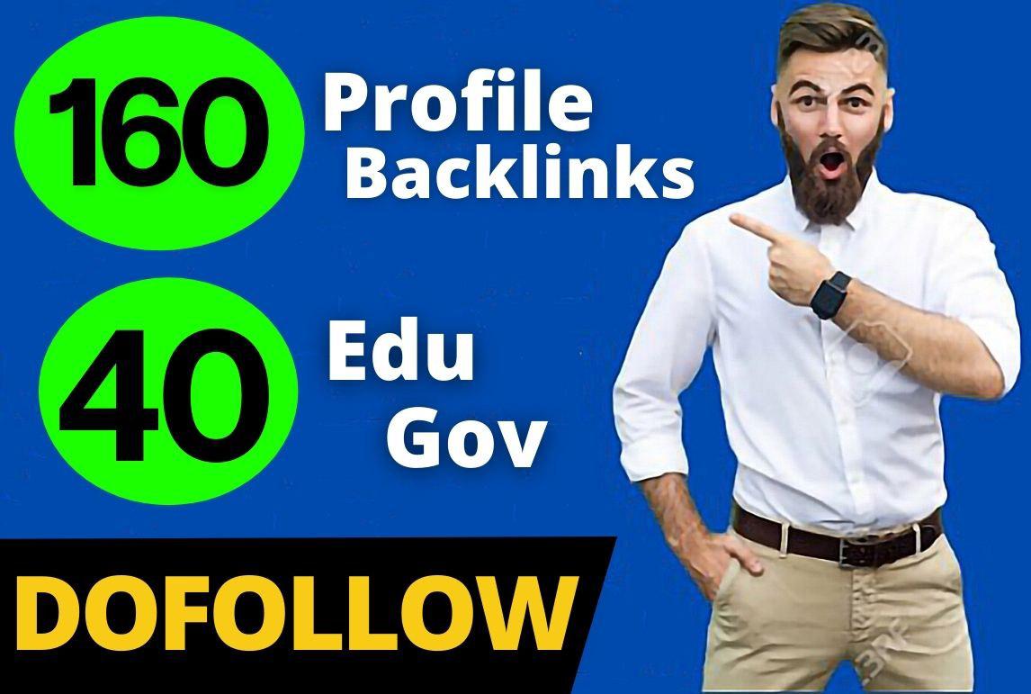 160 Pr9 + 40 Edu/Gov Pr9 High Authority Profile Backlinks Creation