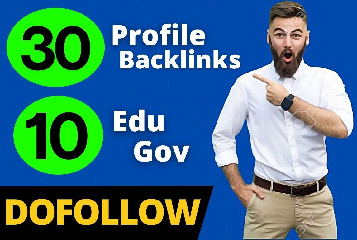 30 Pr9 + 10 Edu/Gov Pr9 High Authority Profile Backlinks Creation