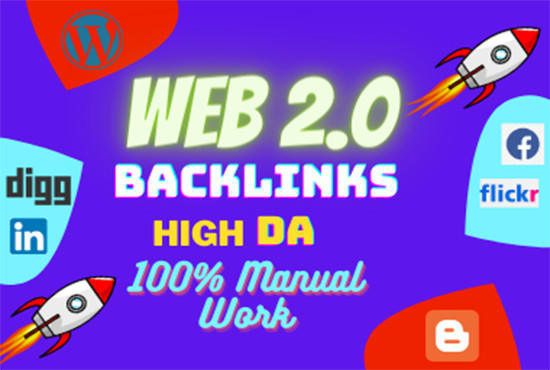 50 high quality contextual Web 2.0 blog backlinks SEO
