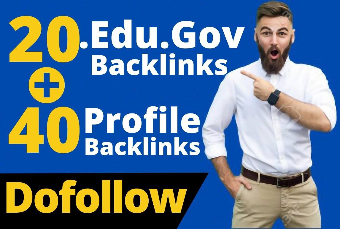 60 Dofollow DA-90 and Pr9 Edu/Gov + Profile Backlinks From-White Hat SEO Guarantee
