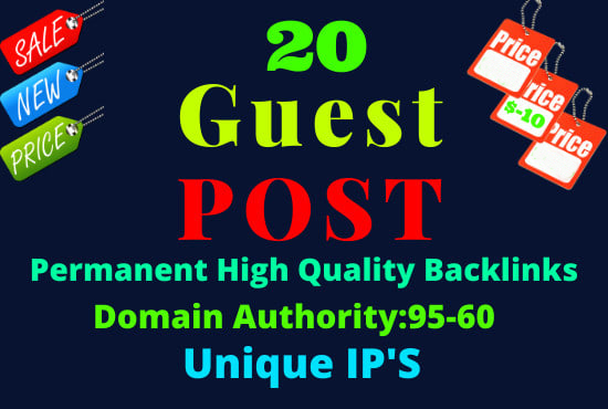 Write and Published 20 Guest post different article 500+ word Do-Follow backlinks
