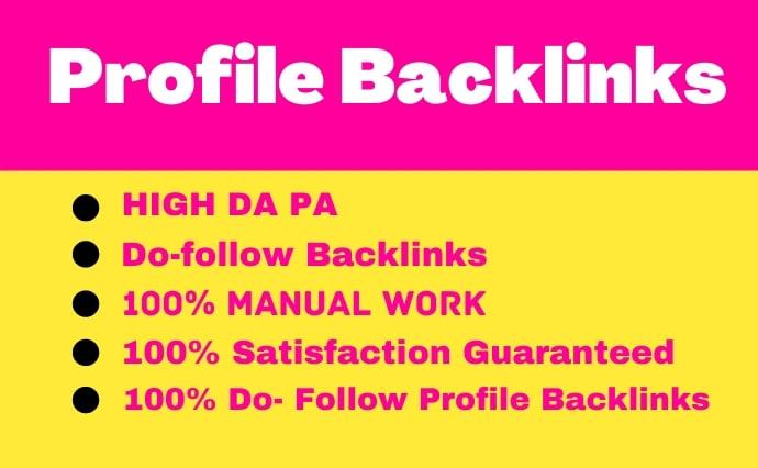 60 Permanent Profile Backlinks All Unique Dofollow manual help to rank Google No 1