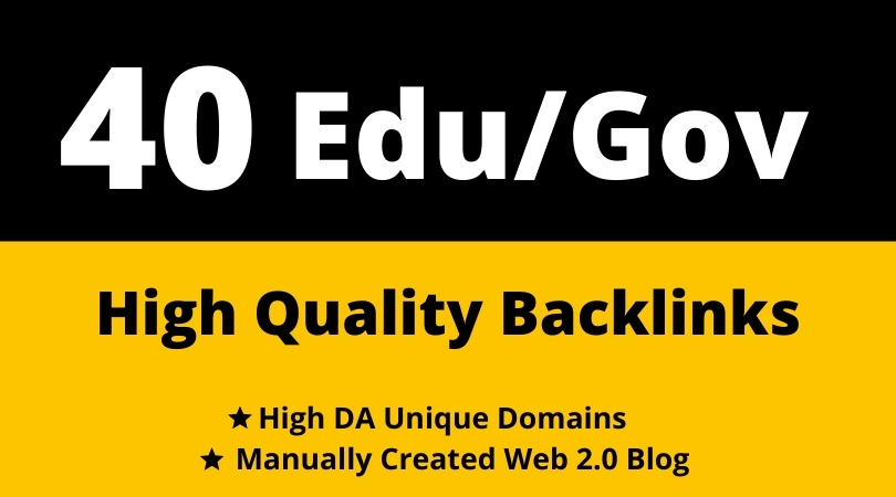24 hours Delivery 40 dofollow Edu/Gov Backlinks Creation SEO