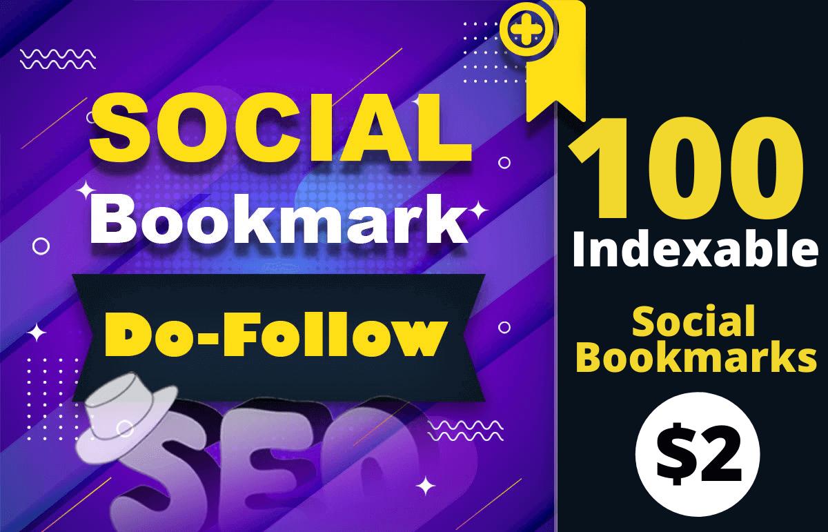 Manually create dofollow Indexable 100 Social bookmarks SEO backlinks for google top ranking