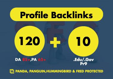 120 DA 85+, PA 65+ & 10 Pr9. EDU/. GOV Profile Backlinks