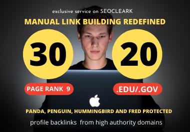 I will Manually Create 30 Pr9 + 20 Edu/Gov Dofollow DA 90+ SEO profile backlinks