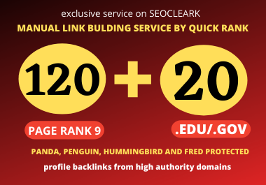 I will manually create 120 High Authority PR9 DA 60 TO 100 & 20 EDU/. GOV SEO Profile Backlinks