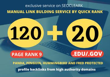 I will manually create 120 High Authority PR9 DA 60 TO 100 & 20 EDU/. GOV SEO Profile Backlinks