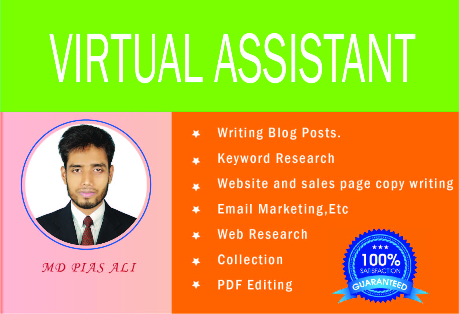 I will Do your professional and personal virtual assistant