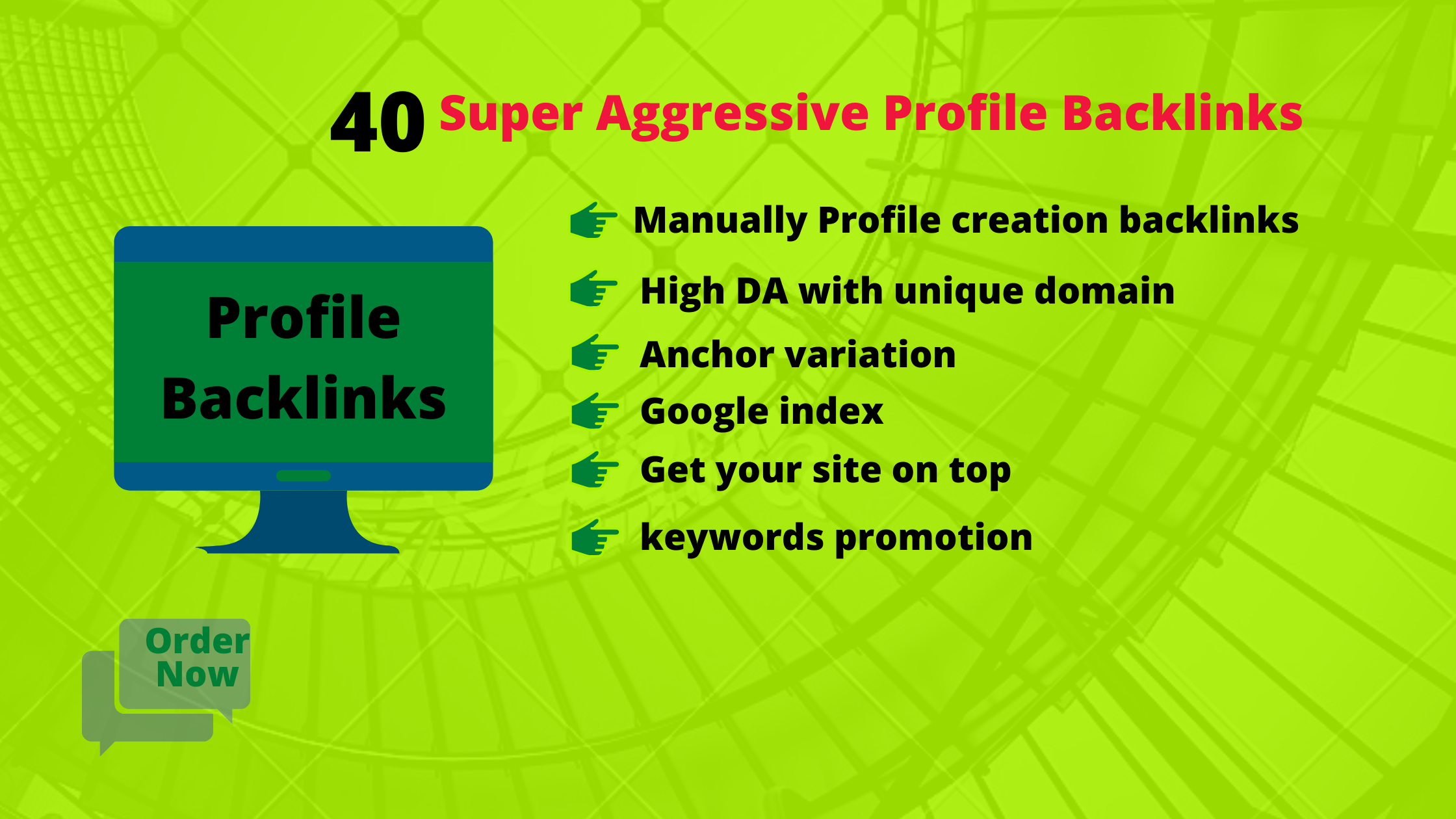 I will do manually 40 high quality profile backlinks with high DA& PA