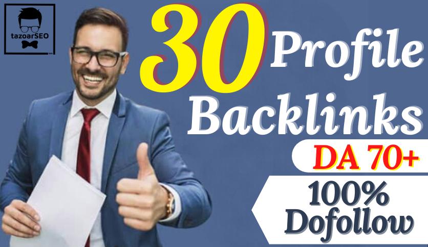 Exclusively Do 30 Dofollow Profile Backlinks DA 70+ Improves SEO in 2021