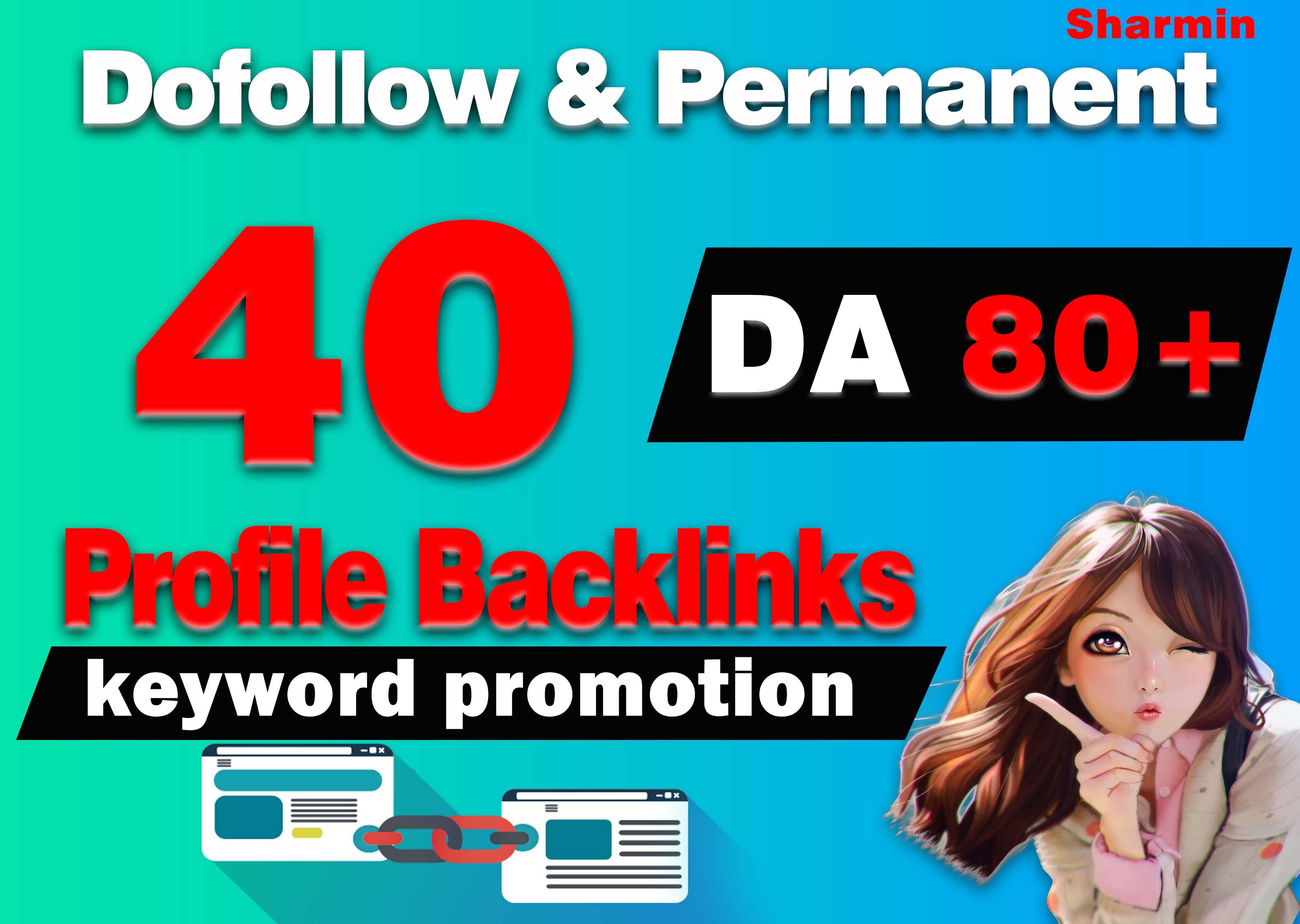 40 High Quality Profile Backlinks DA 80+ Link Building Create Manually