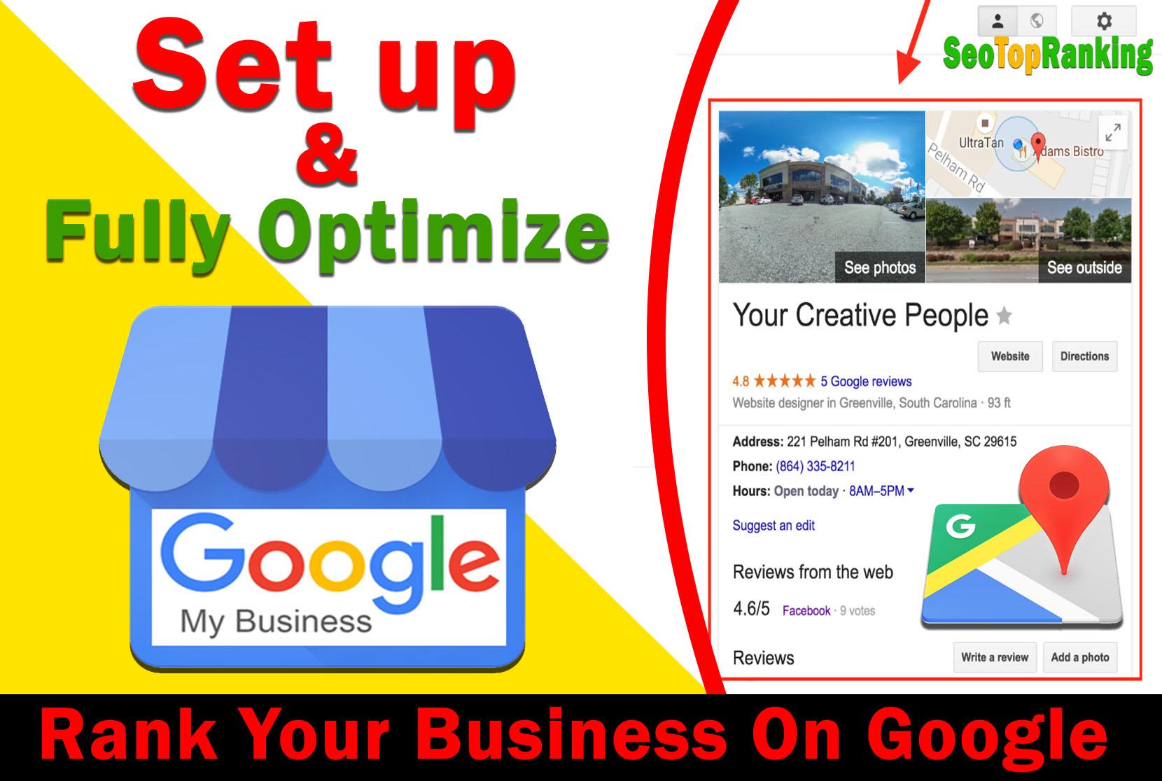 Setup Google My Business,  Fully Optimize And Improve GMB Listing Rank