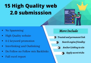 15 High Quality Web 2.0 Backlinks for google ranking updated terms 2020