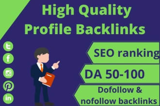 I will Creat 50 HQ edu,  sports, Profile Backlinks search engine friend with latest google terms