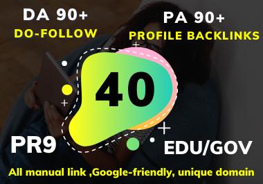 I will do 40 Edu/Gov Profile backlinks Do-Follow DA 90+ PR9