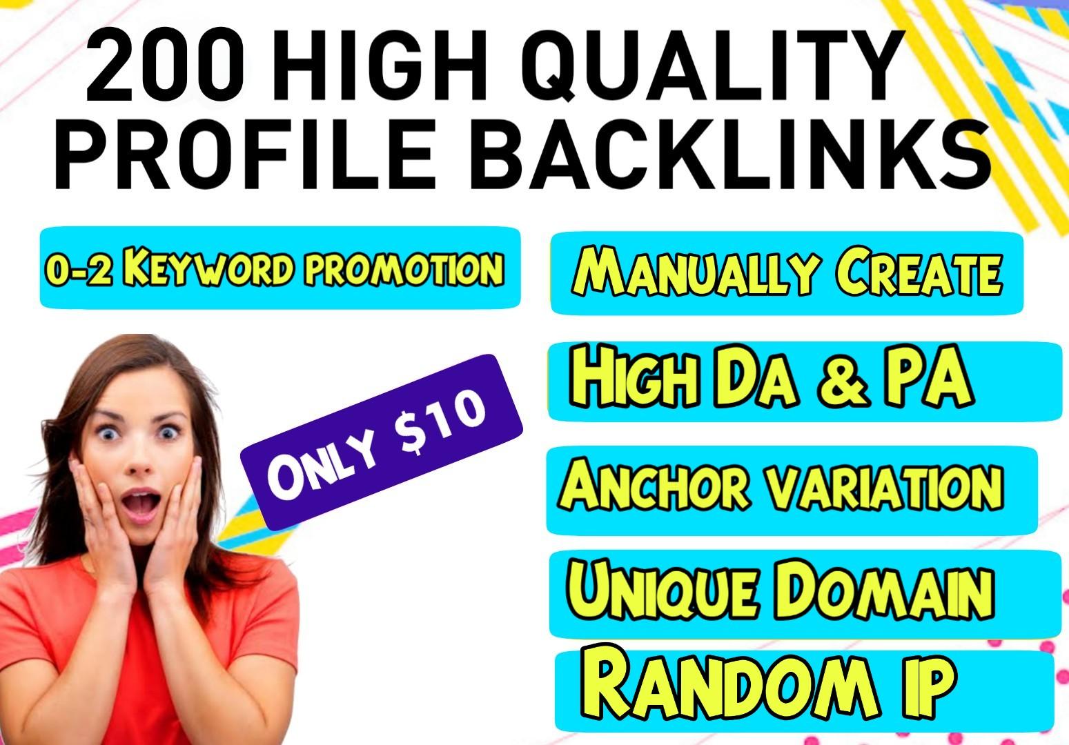 Manually 200 Do-follow Profile backlinks with High DA & PA for website SEO