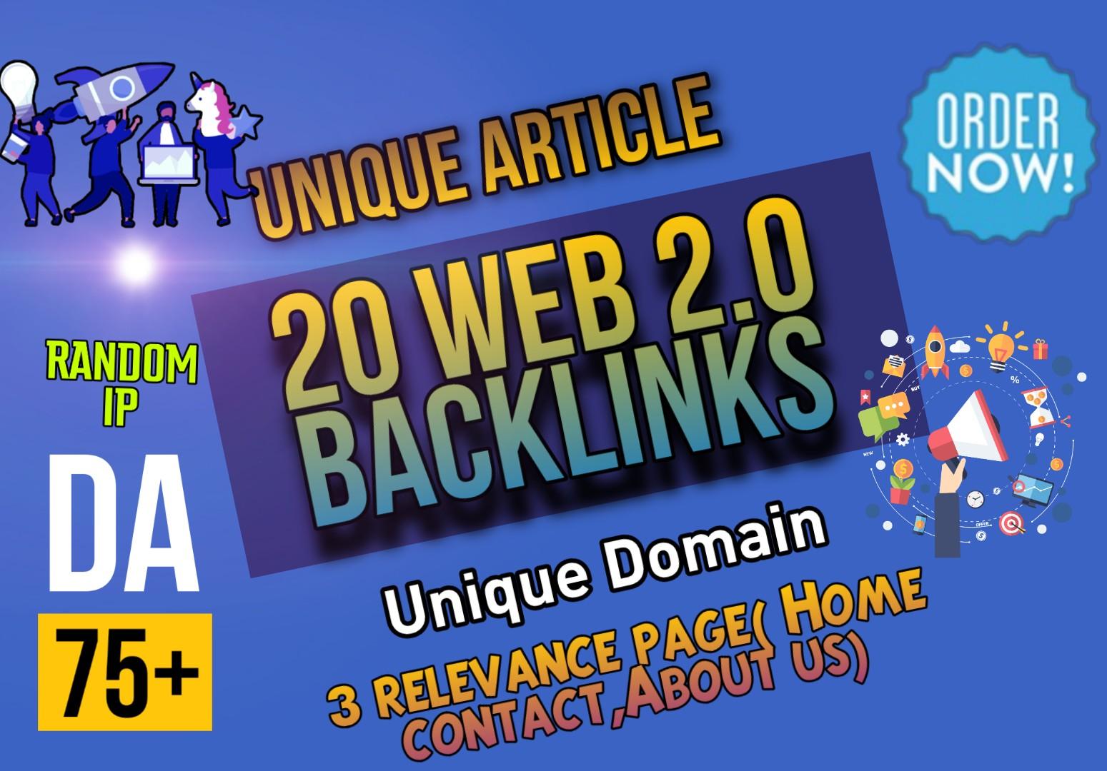 Effective 20 DO-FOLLOW High Domain authority Web 2.0 backlinks manually