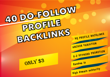I will do Manually 40 DA80+do-follow High authority profile backlinks for website SEO