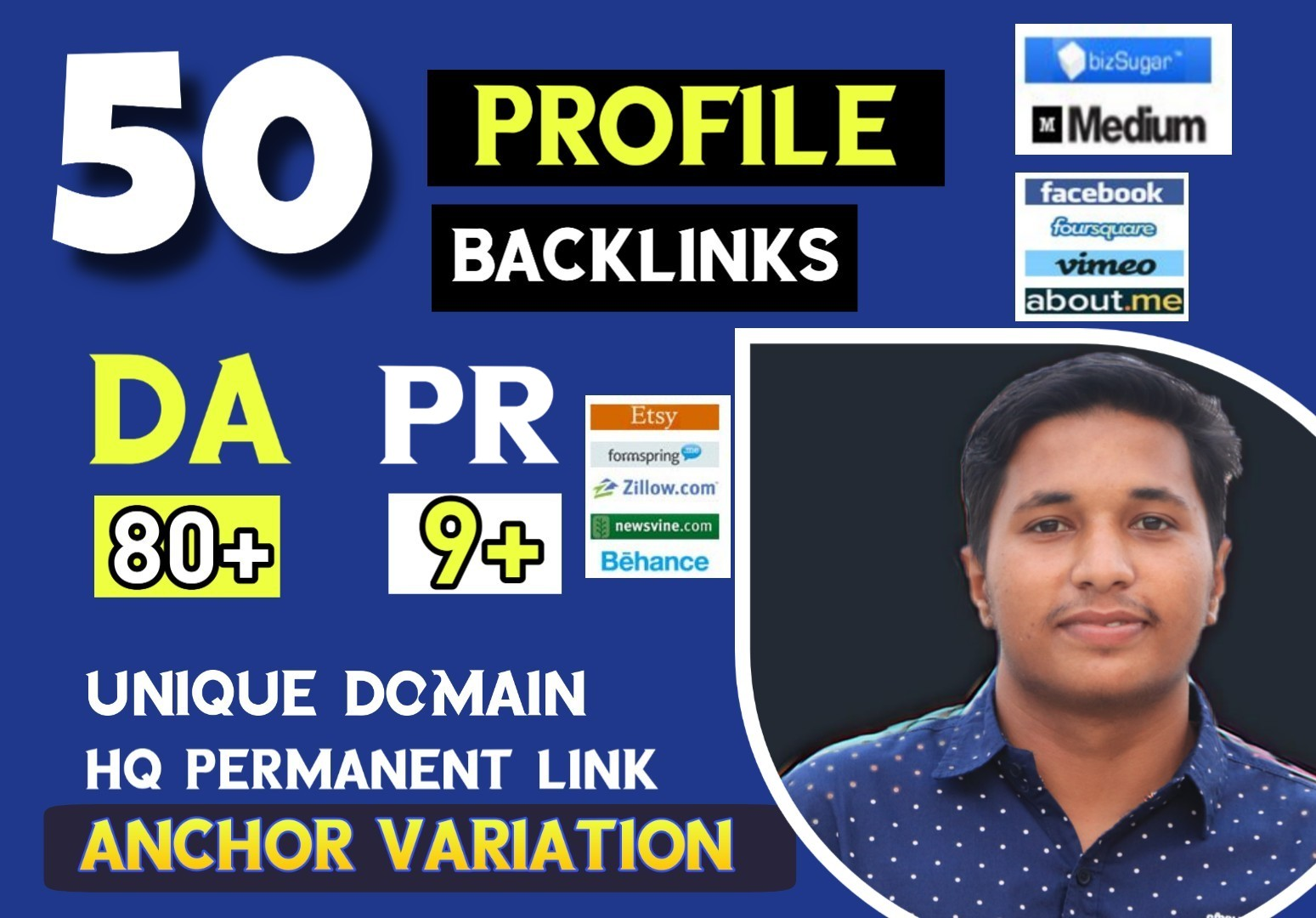 50 Do-follow High authority profile backlinks for quickly rank