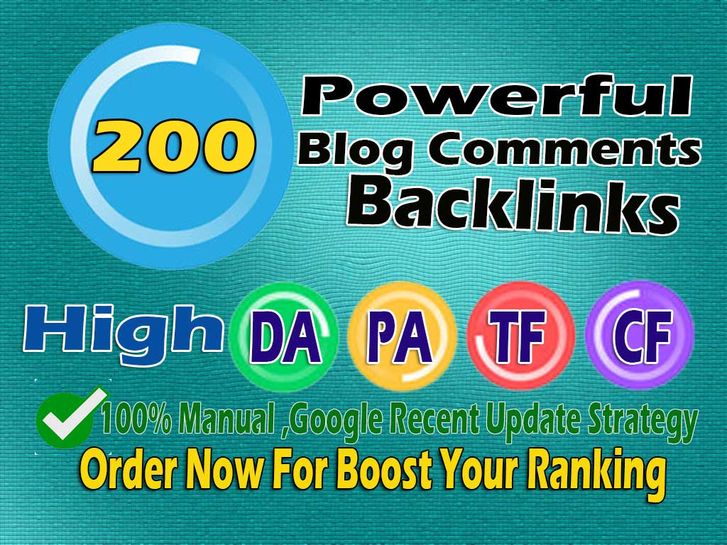 I will create 200 Blog Comments Backlinks With High Authority Links