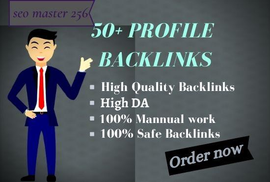 I Will Make 50+ WHITE HAT SEO Profile Backlinks