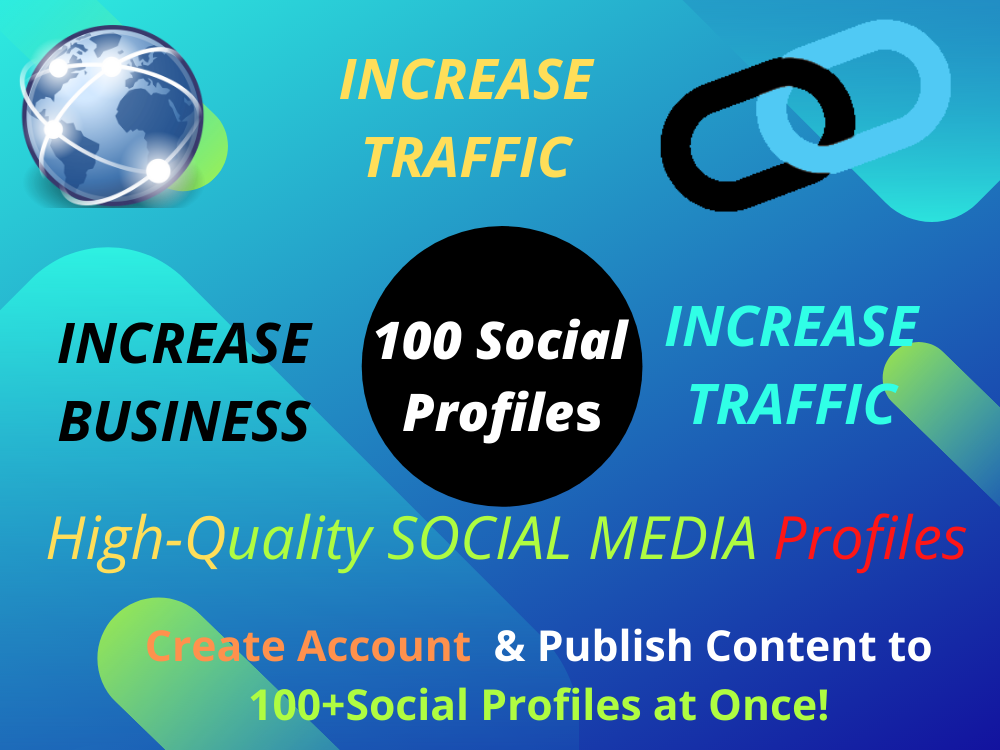 I will create 100 social profiles live backlinks for SEOI will create brand creation to your website