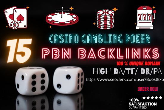 Powerful 15 Backlinks Casino Gambling Poker SEO Package With High Da Pa 20 To 30 +