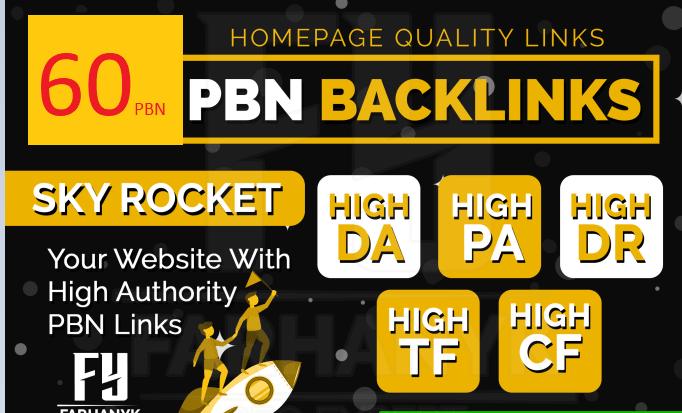 Build 60 Home Page PBN All. COM Domains Backlinks All Do follow High Quality Backlinks