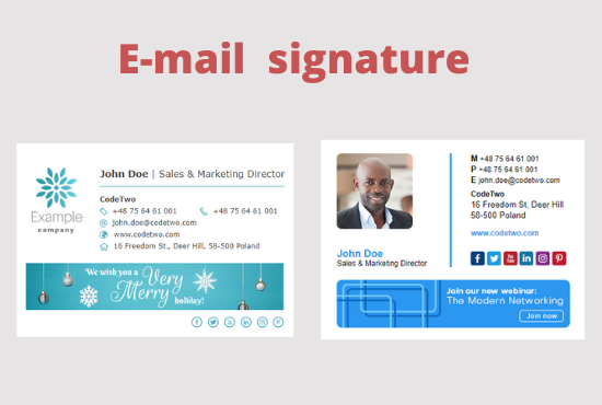 I will create a clickable modern HTML email signature