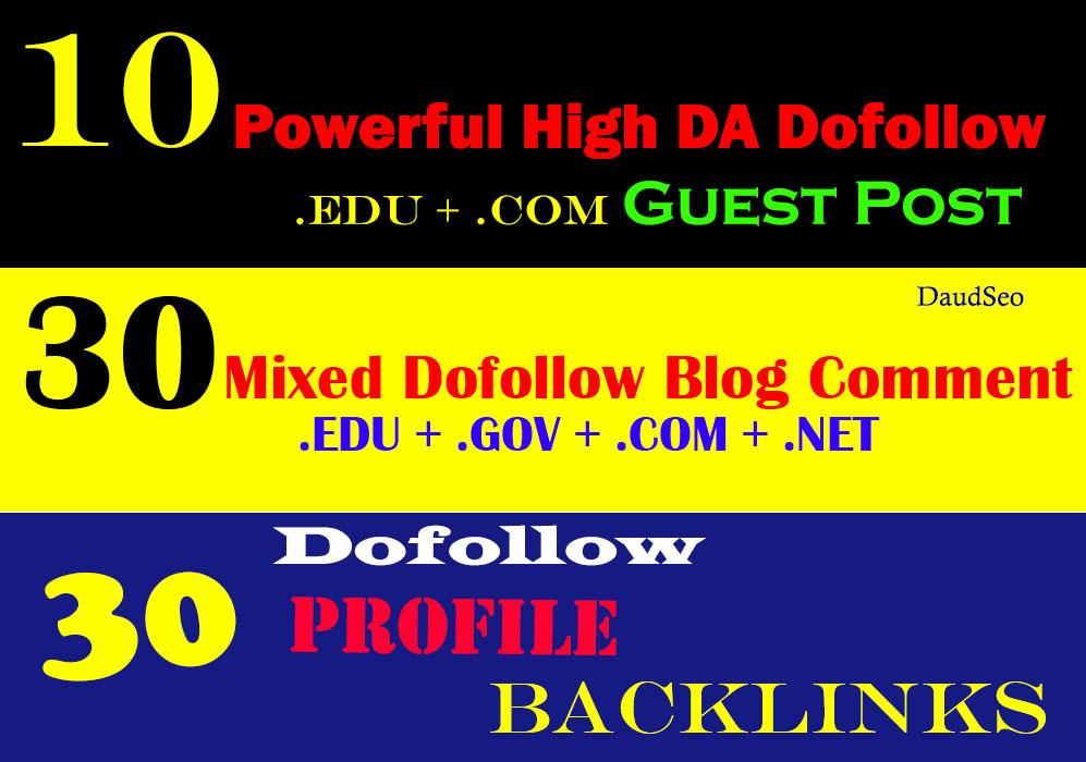 10 Guest Post + 30. EDU/. Gov/. Com Blog Comment + 30 Profile Backlinks Total 50 Top Backlinks Service
