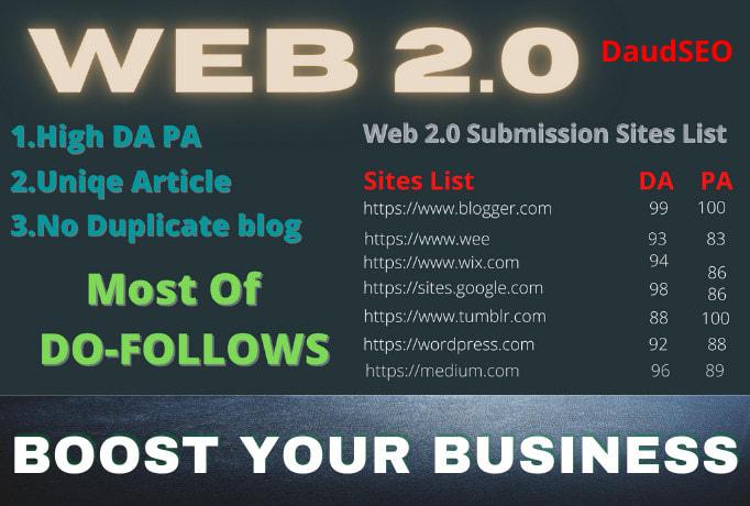 I will create 30 High Authority DoFollow Web2.0 PBN Backlinks