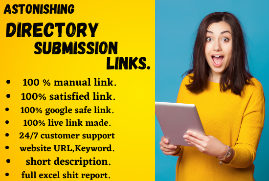 I can make astonishing 100 directory submission links manually for seo.