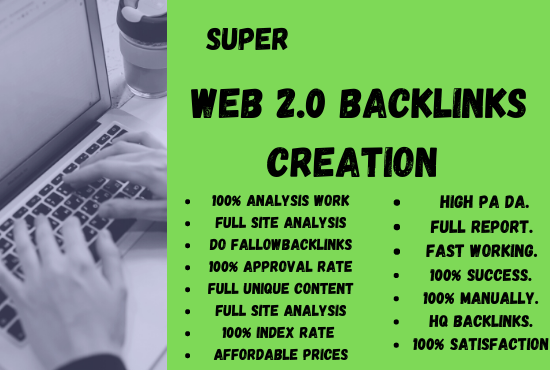 I will build 100 super HQ authority web 2.0 backlinks for website