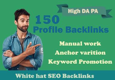 I will create 150 High Authority 90+ DA PA PR9 SEO Profile Backlinks