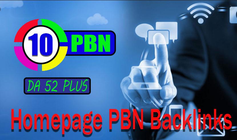Homepage 10 DA-52+ Do follow PBN Backlinks