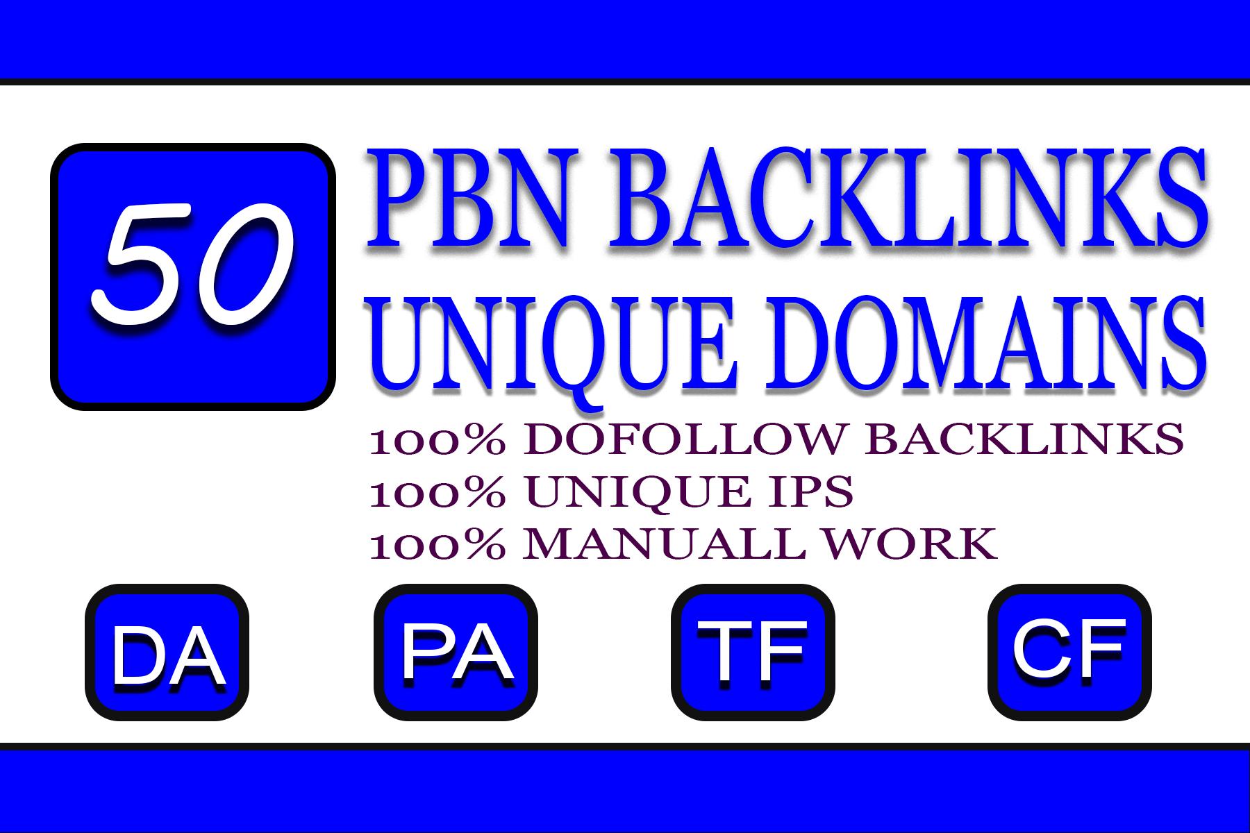 DO 50 PBN Unique High DA PA Contextual SEO Backlinks