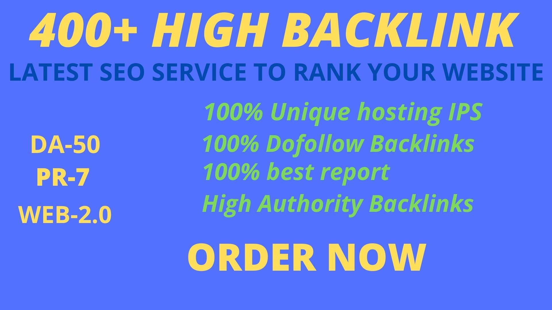 Manually Create 400+DOFOLLOW High PR 1-PR 7+ or DA-40+Highly Authorized Google Dominating Backlinks.