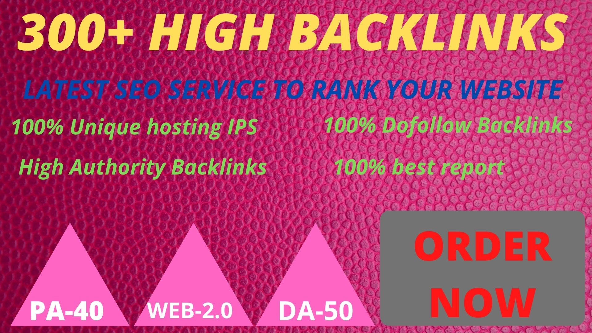 Get powerful 300+ pbn backlinks with high DA /PA on your homepage with a unique website.