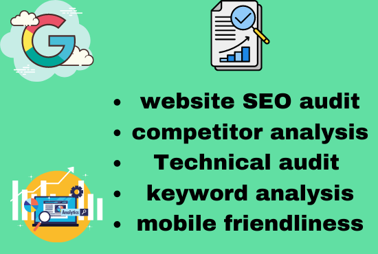 i will provide you a professional seo audit report and 1 competitor analysis for your website