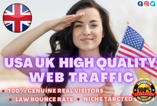 We will provide 6000 USA,  UK targeted real visitors to your website in 30 days