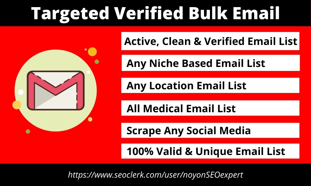 I will collect active and verified niche targeted bulk email list